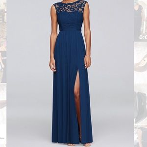 Lace top Navy Blue Gown
